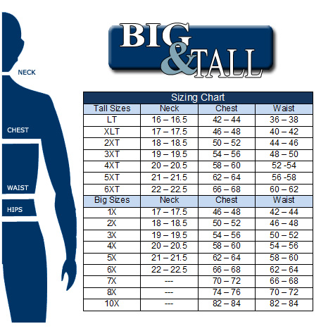 dress shirt size chart big and tall